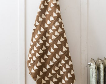African Mudcloth - Tan Triangles
