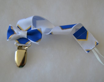 Boy White Royal Blue And Gold Chevron Print Grosgrain Ribbon Pacifier Clip Soothie Holder