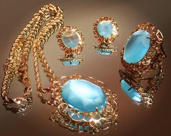 Gorgeous Gold Plated Jewelry Set with Natural Stone (ALEXANDRITE / CAT EYE) - Ring Size 7.5