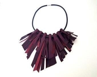Leather Bib Necklace, Bib Necklace, Fringe Necklace, Statement Necklace