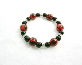 Stretch Bracelet, Red Bracelet, Black Pearl Bracelet, Black Pearls, Silver Bracelet, Black Bracelet, Red, Black, Silver