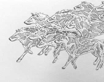 Wolfpack, original illustration, pen and ink, handmade