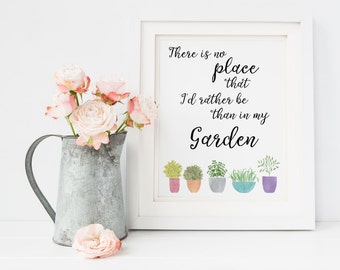 I love my Garden Print Downloadable, Printable Garden Art, Watercolor Plants, Gift for Gardener, 8x10 JPG PDF, Garden Quote