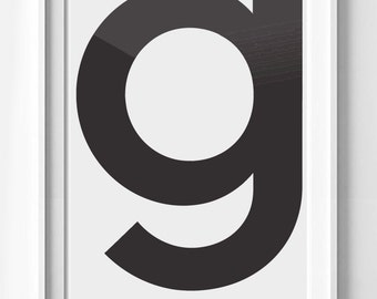 Poster poster letter G modern, minimalist and simple, Scandinavian decoration for the House.
