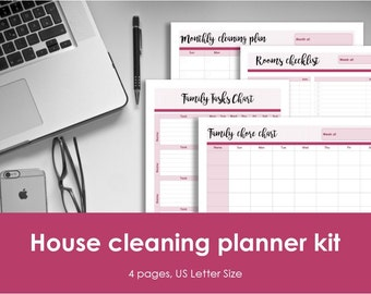 "Clean home planner kit printable. US Letter (8.5""x11"") Size. Monthly cleaning planner, 2 family tasks charts and room cleaning checklist"