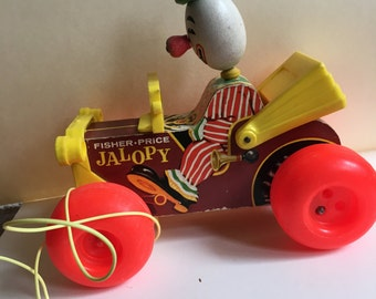 Fisher Price Jalopy Pull Toy/ No. 724/ Clown and Car/ Collectible Vintage Toy/ Wooden Toy