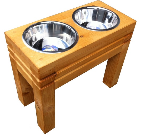 items similar to raised elevated chunky wooden dogs bowls. Black Bedroom Furniture Sets. Home Design Ideas