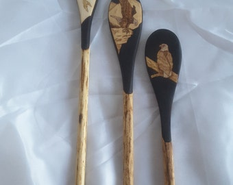 Pyrography eagle wooden spoon set