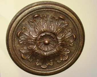 """Antiqued Ceiling or Wall Medallion, 13"""" Ceiling Medallion, Ornate Medallion, ceiling medallion"""