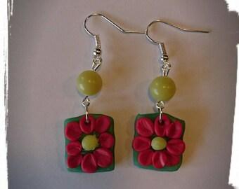 Earrings polymer clay flowers