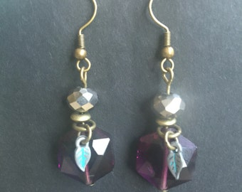 Purple Crystal, Bronze Dangle Earrings