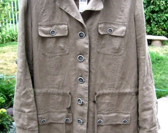 Hot Cotton-Linen-Safari-Drawstring and Toggle Jacket, Vintage Jackets,Linen Jackets,Safari Jacket,Long Khaki Shirt or Jacket