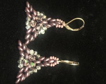 Purple Triangle Earrings