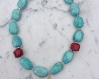 Amazonite and Coral with White Druzy Necklace