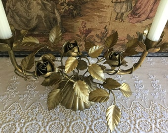 ANTIQUE  ITALIAN TOLE Gilt Candelabra with Roses, tole florals sand leaves, made in Italy, fluted candle holder, tole candleholder
