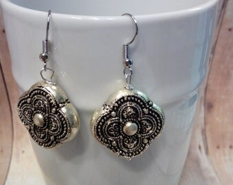 Silvertone boho dangle earrings