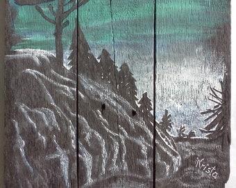 Original acrylic painting on barnwood, seasons... winter forest...