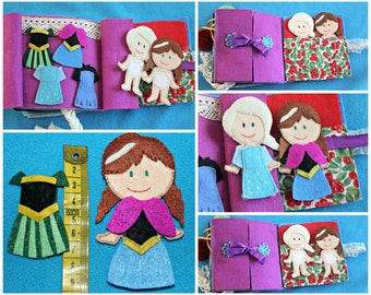 Quiet book, CUSTOMISED Frozen inspired busy book, princess, felt dolls