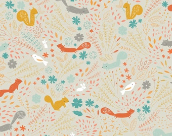 Squirrel Fabric | Cute Animals | Woodland Print | Lizzie Mackay | Birds | Forest Floor | Cute Squirrels | Taupe | Animal Print