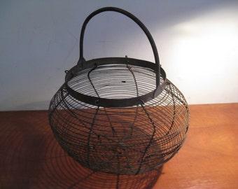 Antique metal egg basket ... in France c 1900