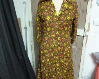 dress vintage multicolor with flowers Rubinstein