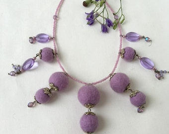 Felted Necklace Lavender Necklace Gift For Women  Lavender Beaded Necklace Hand Felted Necklace Beaded Jewelry Bead Art Necklace Handmade