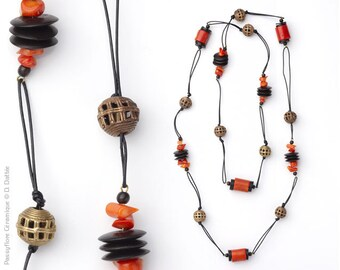 Ethnic necklace & chic Red