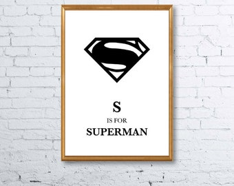 S is for Superman Nursery Print