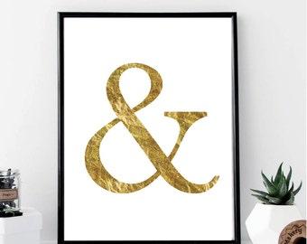 Gold Ampersand Print // Minimalist Poster // Wall Art Print // Fashion // Typography  // Scandinavian Poster // Boho // Modern