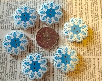 6 Blue and White Buttons
