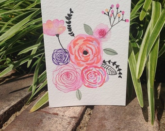 Watercolor handmade floral blank card