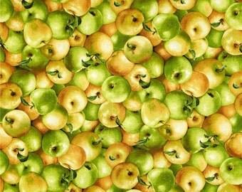 "Fruit Fabric, Vegetable Fabric: Farmer's Market - Farmer John's Apple Organic Apples Packed 100% cotton fabric by the yard 36""x44"" (N505)"