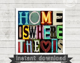 DIY PRINTABLE, Home Is Where The Heart Is, Home, Love, heart, Vintage letters, Alphabet Photography, Photography, Instant Download, Wall Art