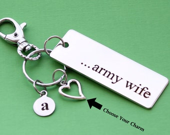 Personalized Army Wife Key Chain Stainless Steel Customized with Your Charm & Initial -K28