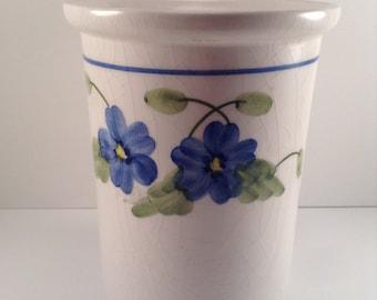 Vintage Vase with blue pansies