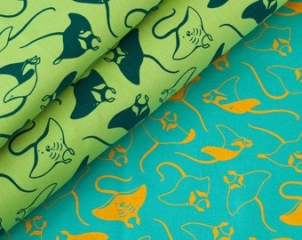Manta Ray Fabric Collection - Marine Series - Hand-Screenprinted, Hand-Drawn Pattern - 100% Cotton
