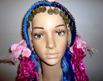 Heavily gold decorated blue and pink flowered tribal fusion headdress