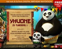 Kung fu Panda Invitation, Kung fu Panda Birthday Invitation, Panda Birthday, Kung fu Panda Birthday, Panda Birthday, Inivitation