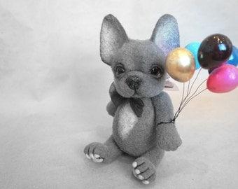 Needle felted French bulldog  - Miniature sculpture Handmade Felt toy - French bulldog as a gift- realistic bulldog.