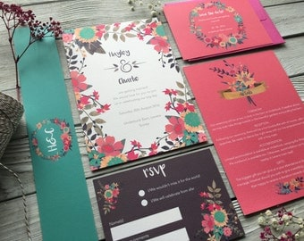 Vibrant Blooms Wedding Invitation Set - Sample Only
