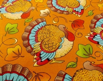 Thanksgiving Fabric Turkeys Turkey Fabric Holiday Fabric Cotton Fabric Placemat Fabric Table Runner Curtain Fabric