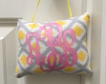 Monogrammed little hanging pillow