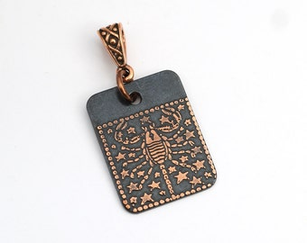 Scorpio pendant, small flat rectangular etched copper, Zodiac horoscope jewelry, scorpian, optional necklace, 25mm
