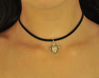 Single Silver Turtle Charm Necklace
