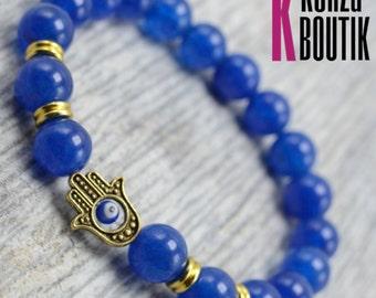 REAL Blue Jade, blue bead bracelet, sapphire bracelet, fashion jewelry, yoga bracelet, meditation jewelry, hamsa bracelet, evil eye charm