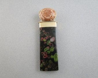 Fossil Coral and Poppy Jasper and Diamond Pendant / Fossilized Coral / Plum Blossom Jasper / 14k Gold Pendant