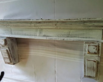 "Free Shipping**Mantel or shelf White distressed /  8"" deep x 7.5 "" tall with corbels"
