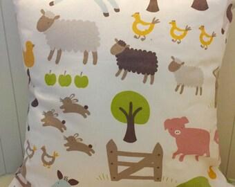 Farmyard animals decorative cushion