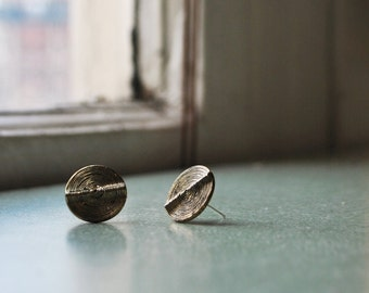 Pleated round stud earrings, brass coloured button earrings, classy textured studs