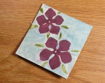 Purple Watercolor Flowers Blank Card